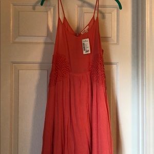 coral mini dress with side detail design